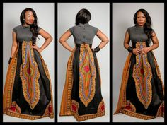 This is dashiki dress african print style African Inspired Fashion, African Print Fashion, Africa Fashion, Fashion Prints, African Prints, African Attire, African Wear, African Women, African Dress