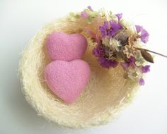 Needle Felted Heart  Bird Nest  Romantic Favor by felttess on Etsy