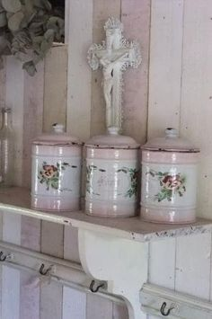 French enamelware canisters - hard to find with the embossed flowers and pink shading by lila