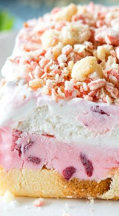 This Good Humor inspired Strawberry Shortcake Icebox Cake is just the thing to cool you down this summer. Swirls of fresh strawberry ice cream are sandwiched between thick slices of pound cake, whipped cream and a shortbread-strawberry topping. Strawberry Desserts, Frozen Desserts, Fun Desserts, Icebox Desserts, Icebox Cake, Baking Recipes, Cake Recipes, Dessert Recipes, Biscuits