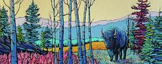 """""""Buffalo in Liard"""" was inspired by the breathtaking scenery north of Fort Nelson towards Liard Hotsprings, in northern BC, Canada.  There the buffalo and fireweed stunned visitors as they traveled the Alaska Highway."""