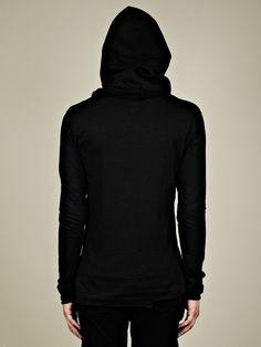 Thom Krom Men's Hooded Scarf in deep black at oki-ni