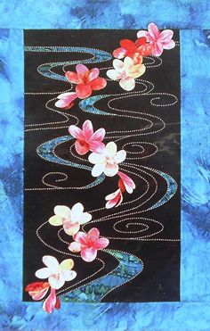 Applique & Japanese Sashiko PLUMERIA FLOATING On WATER Wall Hanging Quilt Pattern By Sylvia Pippen