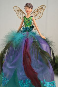 Gisela Graham Resin/ Sheer PEACOCK Christmas Fairy Tree Topper/Ornament LARGE | eBay