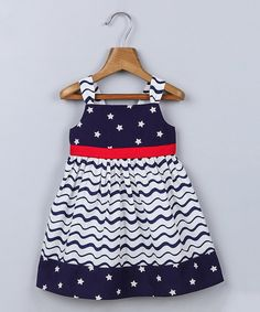 Look at this Beebay Navy Star & Stripe Empire-Waist Dress - Infant, Toddler & Girls on #zulily today!