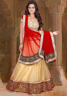 $53.32 Beige Net Wedding Lehenga Choli 56226