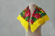 Russian wool scarf vintage babushka autumn by MulberryWhisper, $20.00