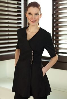 The Gracie Woman's Top - The Gracie Woman's Top. Elegance with a sequence of metal buttons for a touch of glamor. Pin tuck empire waste for a slimming silhouette. Functional attributes include hidden zipper below buttons for quick fastening Salon Uniform, Spa Uniform, Uniform Ideas, Beauty Uniforms, Work Uniforms, Dental Uniforms, Female Models, Dresses For Work, Work Outfits