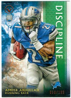LIONS FUTURE STAR RB AMEER ABDULLAH-2015 TOPPS VALOR DISCIPLINE PARALLEL RC /199 #DetroitLions