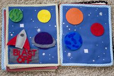 Quiet Book Pages: Rocket & Planets