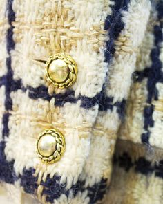 1960's Chanel Couture Navy & Tan Boucle Suit with Removable Collar and Cuffs | From a collection of rare vintage suits, outfits and ensembles at https://www.1stdibs.com/fashion/clothing/suits-outfits-ensembles/
