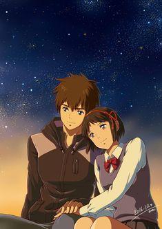 Kimi no na wa. Your name Anime Backgrounds Wallpapers, Animes Wallpapers, Anime Love Couple, Cute Anime Couples, Anime Disney, Mitsuha And Taki, Kimi No Na Wa Wallpaper, Your Name Wallpaper, Your Name Anime