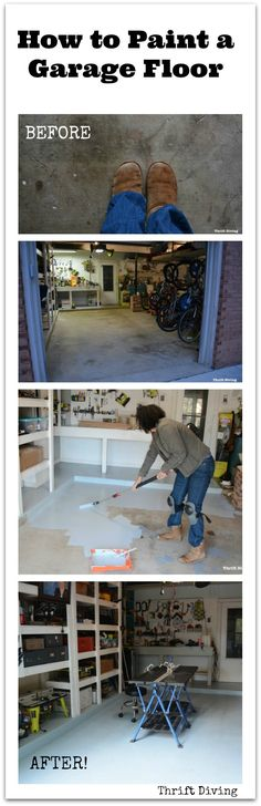 How to paint garage floors using 1-part epoxy paint. STEPS: Move everything, clean and etch, fill cracks, apply bonding primer, roll on two coats. Process takes 2-3 days, and costs about $100 or less! See how it stands up over 6 months. - Thrift Diving