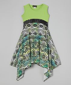 Green Tribal Handkerchief Dress by Lori & Jane #zulily #zulilyfinds