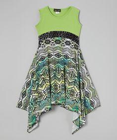 Green Tribal Handkerchief Dress by Lori & Jane #zulily #zulilyfinds