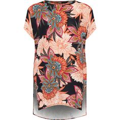 WearAll Plus Size Floral Paisley Print Baggy Batwing Top ($31) ❤ liked on Polyvore featuring plus size women's fashion, plus size clothing, plus size tops, plus size t-shirts, orange, crew neck t shirt, women's plus size tops, floral print tee, short sleeve crew neck t shirt and crew t shirts