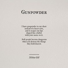 """Preorder my book and check out the poster at yoursoulisariver.com! #poem #poetry #poetsofinstagram #love #quotes #instaquotes #nikitagill #yoursoulisariver A disclaimer: 'bullet with your name on it"""" is a very often used phrase - I did not coin it and take no credit for it. From singers to writers to gangsters to films to an actual shop that engraves names on bullets, you'll find it used in a lot of places. It was actually first thought of by William the third of Great Britain and used…"""