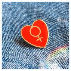 Female Empowerment Pin Feminist Enamel Lapel Pin Woman Symbol Heart... ($10) ❤ liked on Polyvore featuring jewelry, brooches, heart jewellery, enamel jewelry, pin brooch, rose brooch and rose jewelry