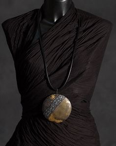 pendant necklace patinated bronze with gold leaf
