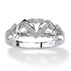 Palm Beach Jewelry PalmBeach Platinum over Sterling Silver Diamond Accent Interlocking Hearts Promise Ring (Size Adult Unisex, White Diamond Rings, Diamond Jewelry, Silver Jewelry, Fine Jewelry, Jewlery, Jewelry Rings, Heart Jewelry, Diamond Pendant, Jewelry Ideas