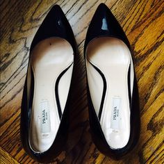 """Prada Vernice black patent leather pumps Classic black prada heels. Only worn a few times...small scratch on heel see photo..comes with box and dust bag...heel is 3.5"""" with .75"""" platform Prada Shoes Heels"""