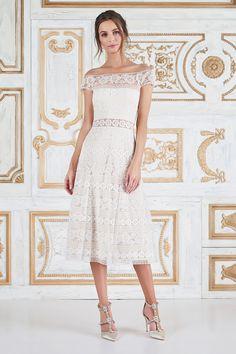 Anneliese Tea-Length Dress l Tadashi Shoji