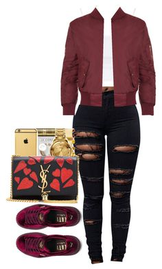 """Distraction"" by shawtyhilfiger on Polyvore featuring Topshop, WearAll, Puma and Yves Saint Laurent"