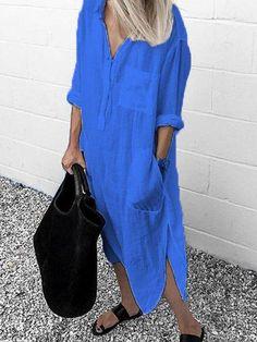 V Neck Casual Long Sleeve Cotton-Blend Dresses Chicpopo Summer Dresses Long Sleeve 1 Casual Dr Types Of Sleeves, Dresses With Sleeves, Sleeve Dresses, Long Sleeve Shirt Dress, Summer Dresses For Women, Casual Dresses, Dresses Dresses, Dresses Online, Long Dresses