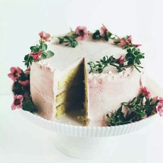 Buttermilk Cake with Rhubarb Frosting & Cardamom Cream