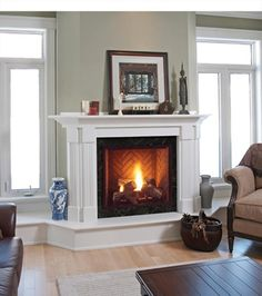 direct vent fireplace with white mantel and hearth. Trim would obviously need to match rest of room. I like the hearth continuing under the windows on either side… though I don't know that it would work in our case. Direct Vent Gas Stove, Direct Vent Gas Fireplace, Vented Gas Fireplace, Natural Gas Fireplace, Fireplace Tool Set, Home Fireplace, Fireplace Inserts, Fireplace Ideas, Gas Fireplaces