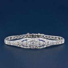 Art Deco Diamond and Calibre Sapphire Bracelet  circa 1925