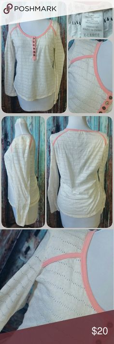 BELLE DU JOUR henley top Pointelle henley type cream colored top with pink trim. Runs small (juniors size) Belle Du Jour Tops