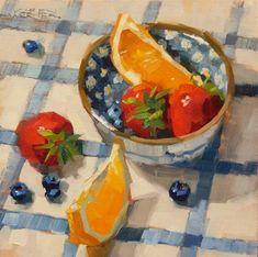 """Daily Paintworks - """"Summer Fruit"""" - Original Fine Art for Sale - © Karen Werner Food Illustrations, Illustration Art, Art Sketches, Art Drawings, Fruit Painting, Paintings Of Fruit, Painting Art, Summer Fruit, Pretty Art"""