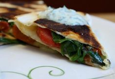 Roasted Tomato Quesadillas with Cilantro Cream by Serious Eats Cream Recipes, New Recipes, Dinner Recipes, Healthy Recipes, Dinner Ideas, Cooking Recipes, My Favorite Food, Favorite Recipes, Creamed Spinach