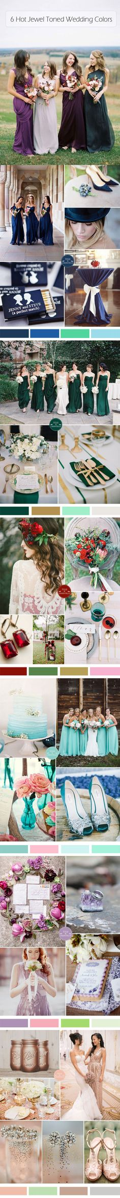 top 6 jewel tones wedding color ideas for fall wedding 2015- love the teal and blush one!