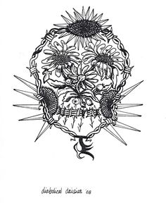 Tattoo design 'Diabolical Daisies'. Organic daisies inside the face, Daisies with blade petals and barbed wire to frame the face. His initial are below the skull.