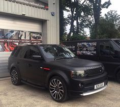 Matte black with red details Range Rover Sport #Overfinch