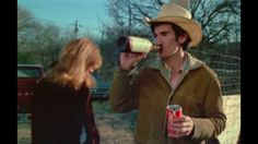 A still from heartworn highways. Townes with cindy, a beverage, and a chaser.