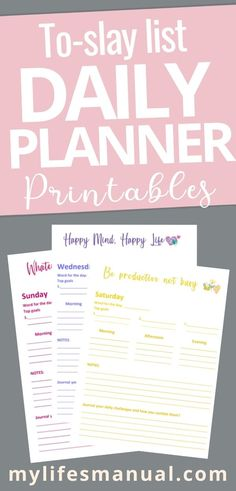 Grab this free To-slay list planner to help you organize your daily tasks and achieve your goals. You'll get a calendar and colorful daily planner pages. #planner #freeplanner #slay #todo #productivity Daily Planner Pages, Daily Planner Printable, Free Planner, Goals Planner, Personal Planners, Daily Goals, Happy Minds, Color Quotes, Graphic Quotes