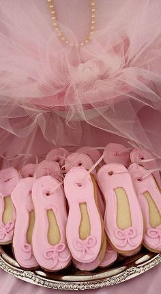 Ballet shoes cookies at a Ballerina birthday party! See more party ideas at CatchMyParty.com!