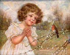 Little Girl Watching A Robin by Richard Borrmeister