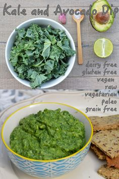 healthy and raw kale, avocado and garlic dip. Paleo, gluten free, raw and vegan. The perfect sugar free, health friendly superfood dip! Kale Recipes, Raw Vegan Recipes, Vegan Gluten Free, Gluten Free Recipes, Vegan Vegetarian, Vegetarian Recipes, Healthy Recipes, Guacamole, Healthy Snacks