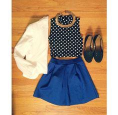 http://blingblingbling1.blogspot.co.uk/p/blog-page.html . Royal Blue Skater Skirt w/ Polka Dotted Crop Top and Blazer ✿. ☺