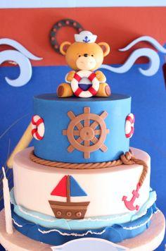 ideas birthday cake kids boys nautical theme for 2019 Nautical Birthday Cakes, Birthday Cake Kids Boys, Nautical Cake, 1st Birthday Cakes, Nautical Theme, Torta Baby Shower, Baby Shower Cakes For Boys, Baby Shower Brunch, Baby Showers Marinero