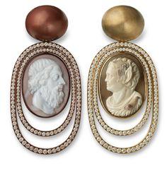 Hemmerle Earrings ~ diamonds - cameos - white gold - copper - brass