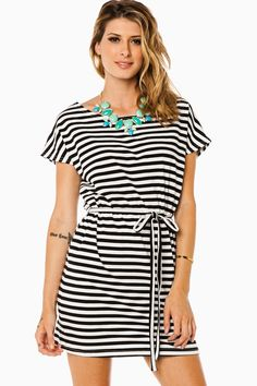 ShopSosie Style : Cozy Striped Tie Waist Dress in Black and White by Piko