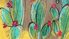Cactus Painting, Cactus Art, Cactus Flower, Painting & Drawing, Southwestern Art, Desert Art, Painted Pony, Paintings I Love, Crafts To Do