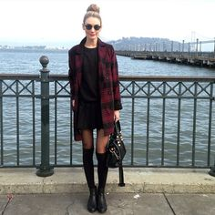 Mia Maguire - American Apparel Tennis Skirt, Forever 21 Plaid Coat, Dolce Vita Boots - Tourist