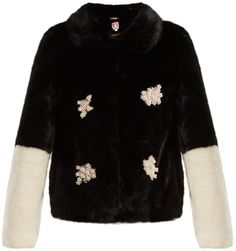Shop Now - >  https://api.shopstyle.com/action/apiVisitRetailer?id=687992480&pid=uid6996-25233114-59 SHRIMPS Evan faux-pearl embellished faux-fur jacket  ...
