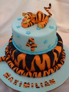 """I fell in love with another cake like this on CC done by Naera. Cakes are 5"""" and 7"""" covered in fondant, tigger is also made from fondant."""